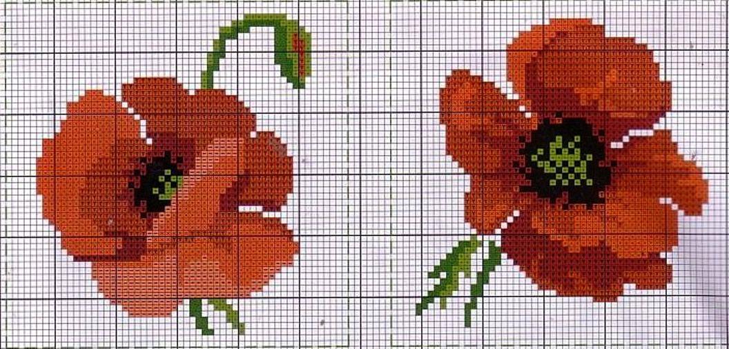 Схема вышивки крестиком один мак 766