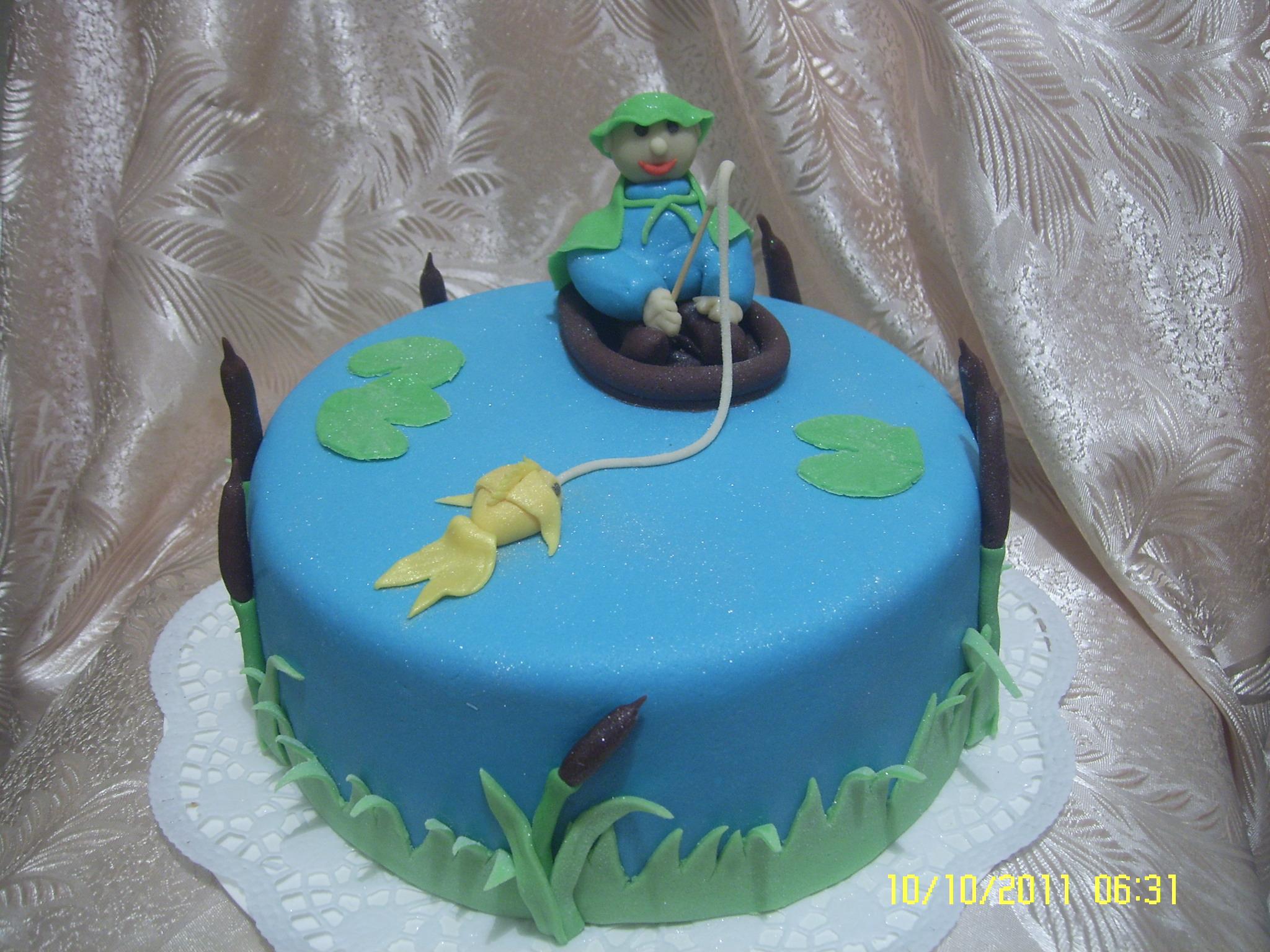 Торт для рыбака фото из мастики своими руками