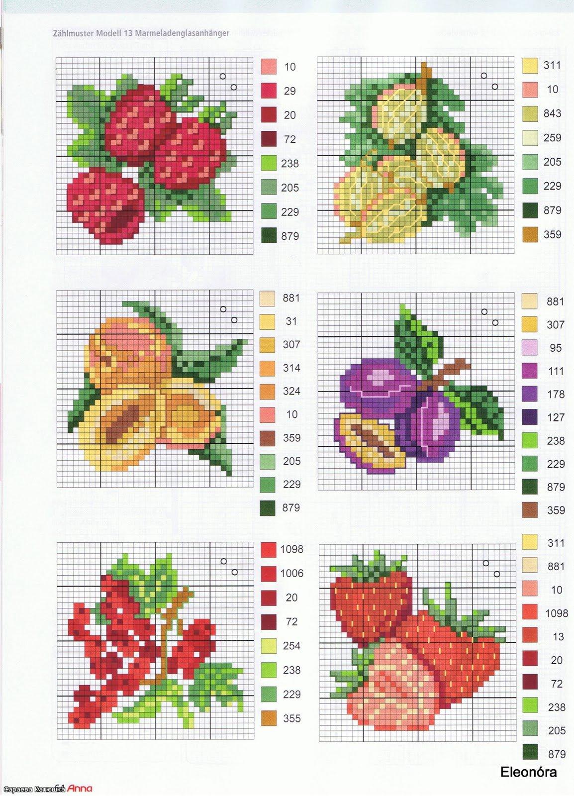 Схемы вышивки крестом фрукты овощи 6