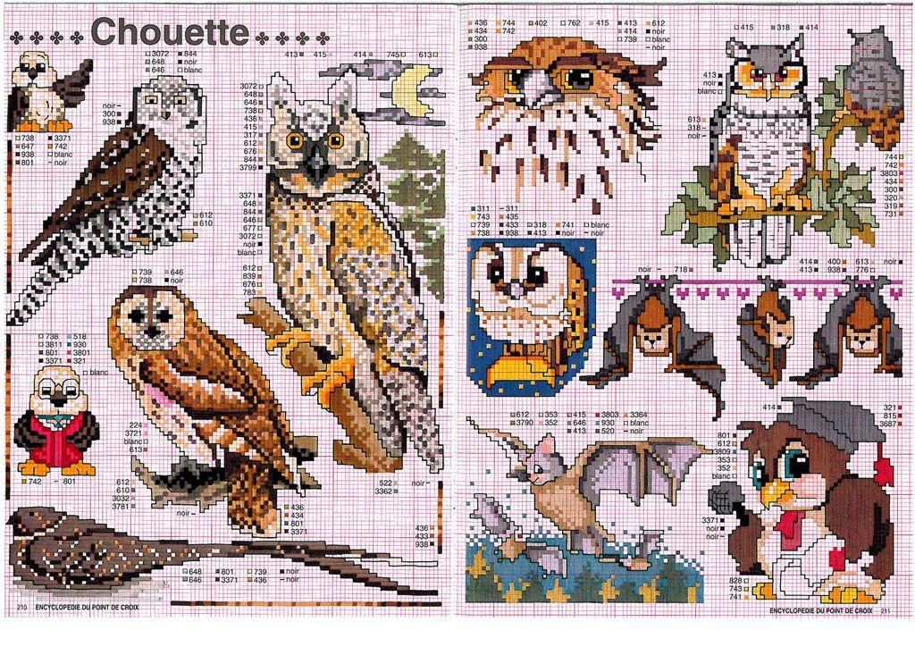 Схемы вышивки крестом-совы 77