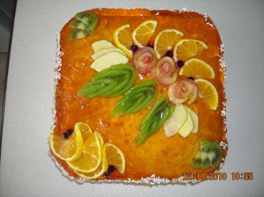 Как сделать цветы из фруктов на торт видео