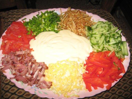 Салат радуга с корейской морковью рецепт фото