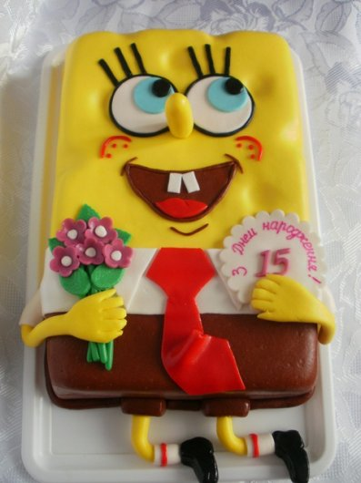 Торт губка боб своими руками из мастики фото