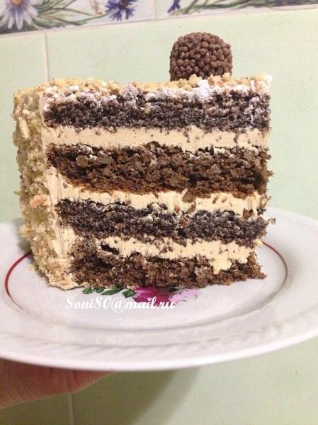 Торт Маково-горіховий з кавовою  ноткою